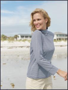 Land's Endend - Striped Three-quarter sleeve Turtleneck �25, Slim-leg Chino Crops �35. Nautical fashion trends at fashion-era.