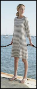 Nautical fashion trends at fashion-era. Lands' End Spring/Summer 2008 - Cotton/Linen Ribbed Boatneck Dress �49