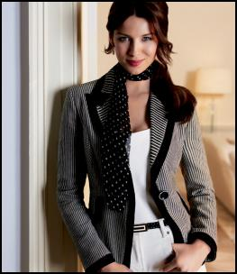 Principles Spring Summer 2008 Collection - Black and white two stripe blazer �85/135euros, Printed spotty scarf �19/29euros. Fashion era trends