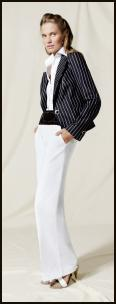 Nautical outfit - Wallis SS08 Navy and white pinstripe fitted blazer �65/�99, White wide leg trousers �40/�65, White strap sandals �35/�60, Black waisted elasticated wide belt �15/�23.