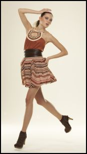 Tribal Fashion Trend - Top with crochet detail �12, print skirt �10, belt �4 all Matalan
