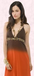 Toe dye ombre trends - This rusty orange and brown dress uses Ombre dyeing to merge the colours seamlessly.  Bay Trading Company - Necklace trim dress �39.99 from Bay Trading Spring/Summer 2008 Collection.