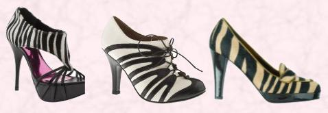 Heeled Animal Footwear - Zebra Shoes