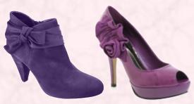 Purple Ankle Boots With Bow �15 & Purple Rose Court Shoes �80.