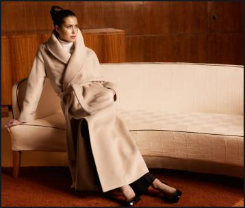 Crombie cream shawl collar wrap belted luxury cashmere coat. Autumn fashion 2009.