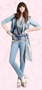 Miss Sefridge outfit in denim. Light blue jacket, skinny jeans �35, �25, Miss Selfridge Autumn/Winter 2009.