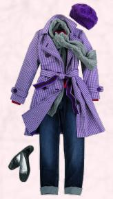 Boden purple check coat/jeans outfit. Autumn fashion 2009 -2010.