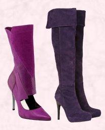 River Island AW09 Accessories - Purple Laser Cutaway Boot £85. Moda in Pelle - Voodo (Purple/Black) Suede Platform Boot - £140.