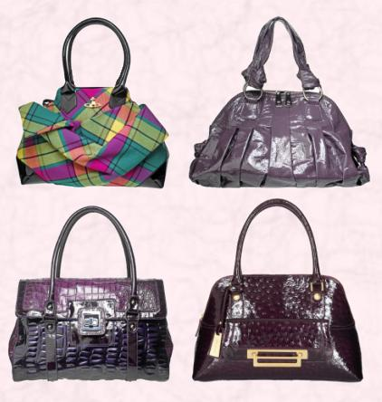 Vivienne Westwood Tartan Winter Handbag �485/�592. Episode Lavender Dome Bag �199/�239. Purple Mock-Croc Tote �89/�109 by Linea all at House of Fraser. Debenhams J by Jasper Conran London Letterbox Ostrich Handbag �60/�93.