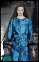Blue brocade coat by Valentino.  AW2009.
