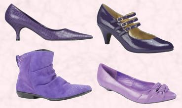Kaleidoscope Kitten Heel Shoe. Simply Be Three Bar Mary Jane Shoe - Court Shoe £25.  River Island Purple Ankle Boot - £34.99. Barrett's Purple Pointed Low Court Double Knot Detail - £22.