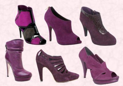 Purple Shoes - Purple Black Suede Shoe Boots �74.99 - River Island.  Moda in Pelle - Cutie Purple - �80 Suede Peep Toe Shoe Boot. Wallis Autumn Winter 09 Purple Patent & Suede Boot. Lower Row -  Faith Footwear Sorena, Leather Stiletto Platform Boot - Back Buckle Strap Detail �115/�145.  Littlewoods - Love Label Mandy Suede Shoe Boot �36.   Magenta Peep Toe Shoe Boot - Oasis.