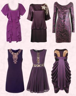 Ruffle Fall Tunic Dress by Oasis. Monsoon Autumn/Winter 2009 Purple 'Originals' Andie Dress �135/�229 Eire.   Dorothy Perkins Plum Animal Dress. Lower Row - Wallis Autumn Winter 09 Purple-Black Embellished Shift Dress, �50/�76. Monsoon Fusion Purple Madonna Dress �55/�93 Eire. Monsoon Purple Originals Sue-Ellen Dress �160/�271 Eire.