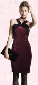 Plum damson velvet bow halter neck dress £160 by Untold - House of Fraser.