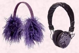 River Island Fur Ear Muffs. Audio Chi W-Series Headphones in Purple Dots £69.95. The W-Series utilises Audio Chi's Structural Acoustics™ Technology