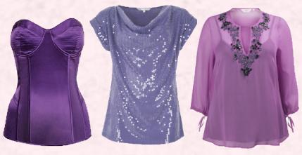 Dorothy Perkins AW09 Purple Satin Bustier - �30/�45. 'Red Herring' Sequin Top in Lilac - �32 - Debenhams Christmas 2009.  Simply Be - Violet Tunic, �65.