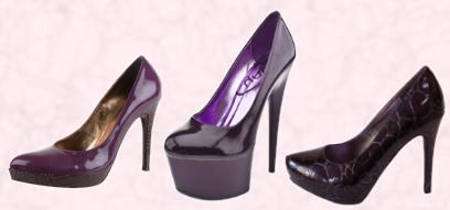 Moda in Pelle Dandan (Purple) £85 Patent Platform Court Almond Toe.  Schuh Kiss Platform Court Purple Patent £49.99/€6. A-SHU.CO.UK Purple Patent Croc Effect Platforms £14.99.