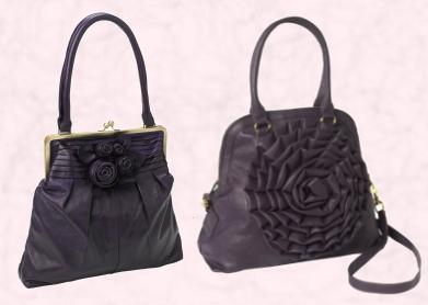 Monsoon Autumn / Winter 2009 - Purple Rose Frame Bag £75/€127 Eire.  TK Maxx Purple Leather Rose Handbag £24.99/€29.99.