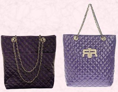Rich Purple Chanel Style Quilted Shopper - Chain Handle - £20.  Light Purple River Island Large Quilted Shopper - £29.99.