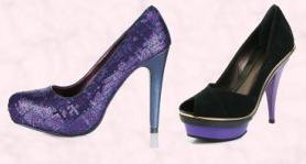 Littlewoods AW09 Clothing & Footwear - Love Label Stellar Sequin Platform Shoe £30.  Faith Footwear Suede Peep Toe Platform Court 'Crave' Shoe -£80 Also in Aubergine.