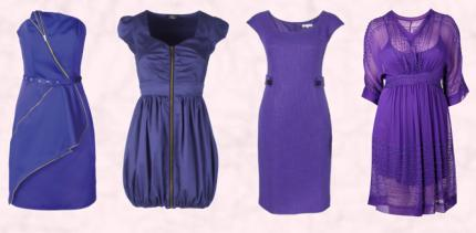 Matalan Womenswear AW09 - Be Beau Electric Blue Zip Dress £25. Zip Dress by Rare - Autumn/Winter 2009/10.  Précis Petite Purple Dress - £139. Evans Plus Size Beaded Kimono Dress/Slip £55.