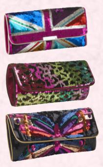 Union Jack, Animal & Butterfly Sequin Clutch Bags.