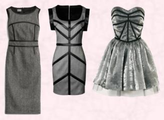 Left -  Edington Limited Edition Leather Trim Dress - £179 in Herringbone Wool - Hobbs Autumn Winter 2009.  Metallic Prom dress £50/€80 - Dorothy Perkins Autumn Winter 2009.