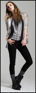 Silver grey Ondine sequinned blazer �69.99, Grey marl shoulder pad tee �16.99, Black military boots �59.99, Multilink necklace �39.99, Tilly waistcoat �24.99, all River Island Clothing Co. Ltd AW09