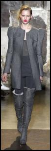 2009 Women's Coat by Antonio Berardi power chic grey coat and thigh boots.