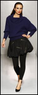 Mohair Yarn Cowl Neck Jumper £14, Zip Bubble Hem Skirt £14, Black Leggings £5 all Matalan AW09 Women Catwalk.