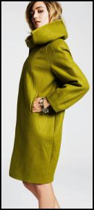 Acid green coat Fall 2009. Betty Jackson at Designers at Debenhams - Autumn 2009 Womenswear. Black Cocoon Coat �200/�310.