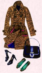 Boden black and tan zebra print coat.