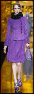 Dior Purple cowl collar suit. Autumn 2009 fashions.