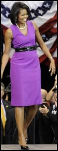 Michelle Obama is a big fan of purple and wears a Maria Pinto purple sheath dress 2009