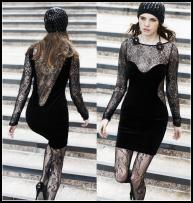 Velvet and Peek-a-boo lace dress, lace tights, for Autumn 2009/Winter 2010 from Warehouse Womenswear.