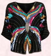 Miss Selfridge - Black and multi coloured kimono sequin top.