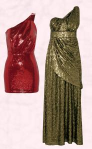 Near Right - T. K. Maxx Asymmetric Red Sequin Dress. Far Right - Monsoon Saturn Maxi Dress - Gold Sequin Full Length Evening Dress.