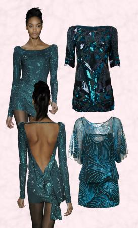 Near Right - Teal Blue Catwalk Sequin Dress by Twenty8Twelve.Above Right - French Connection Teal Blue Sequin and Bead Dress. Lower Right - Monsoon Neptune Blue Sequin Overlaid Dress - �135.