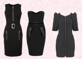 Papaya Zip Detail Body Con Dress £19 - Matalan Womenswear AW09. Andrew Gn Zip Bustier Dress - AW2009. Black Zip Front Dress by Oasis.