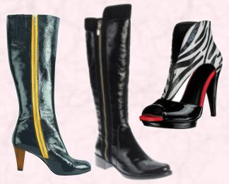 Boden Heeled Boots With Yellow Zipper - Autumn 2009/Winter 2010. Dune Autumn Winter 2009 - Women's Accessories  Rip B, £140/€195.  Miss Selfridge Autumn/Winter 2009 Shoes - Zebra/Zip Ankle Boot.