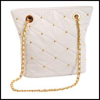 Miss Selfridge Spring/Summer 2009 Accessories quilted white bag with gold chain - £25