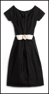 Hobbs Spring Summer 2009 Iliana short sleeved black dress, ivory white bow - £179.