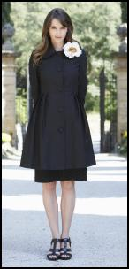 Long Tall Sally Spring Summer 2009 Monte Carlo Pleated Black Skirt Coat - White Rose Corsage.