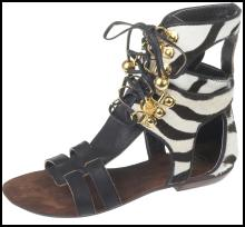 Zebra gladiator sandals £39.99 from the SS09 Ethnic range at River Island Clothing Co. Ltd.
