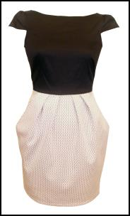 JOY - 2 in 1 Patterned Skirt Black and White Dress £45.