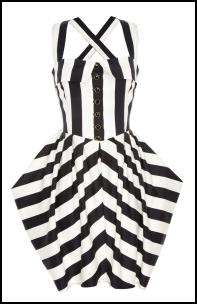 Black and white striped tulip dress �17.00 in store end March from the Primark Collection for Summer 2009. Primark Summer 2009.