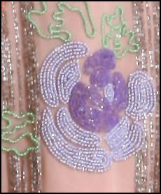 Beaded Dress Detail of Lavender Rose Embellishment.