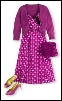 Boden magenta dress and cardigan.
