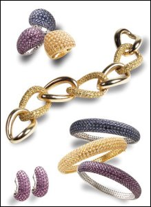 Jewels of Ocean - Pave jewellery in 18 carat gold. Rubies, yellow diamonds, sapphire pave rings.