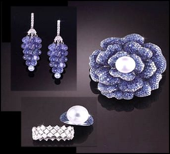 Coloured Stones at Jewels of Ocean - Sapphire grape cluster drop chandelier earrings with diamonds. Sapphire and pearl brooch and rings.